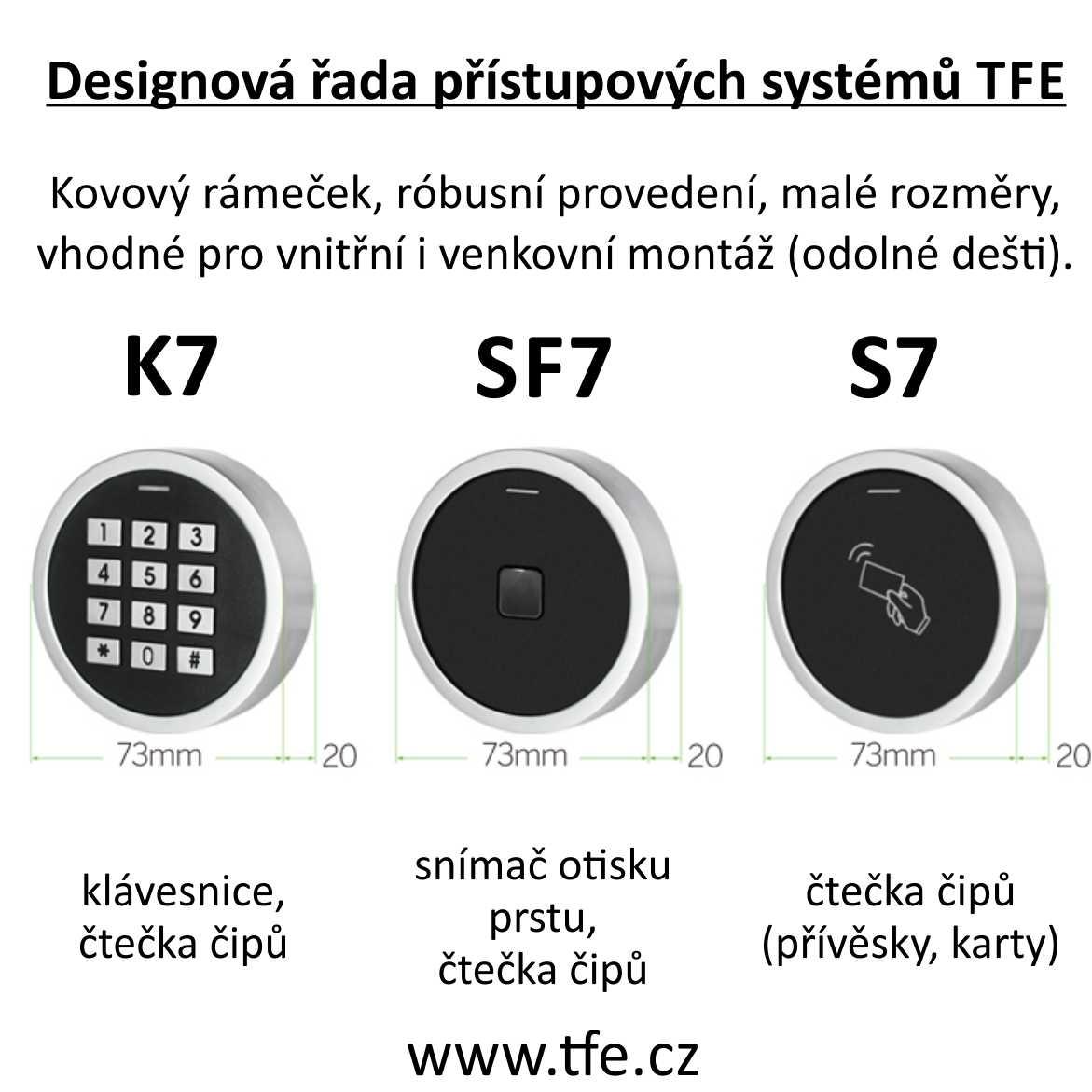 Přístupový systém K7 s klávesnicí a čtečkou RFID