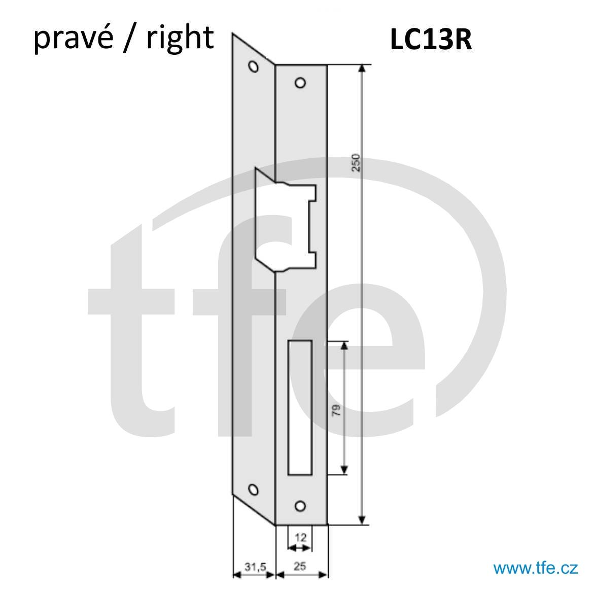 Plech úhlový pravý LC13R